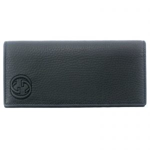 Authentic, New, and Unused Gucci Embossed interlocking G Grey Leather Long Wallet 322116 front view
