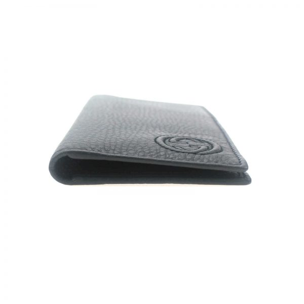 Authentic, New, and Unused Gucci Embossed interlocking G Grey Leather Long Wallet 322116 left side view