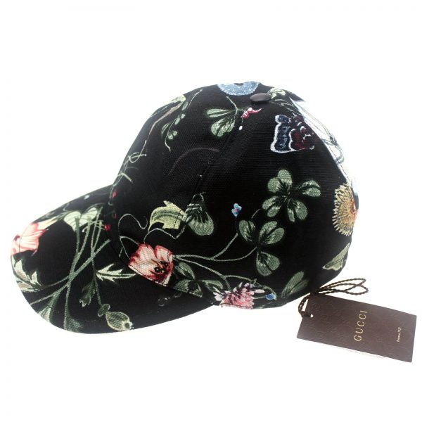 Authentic, New, and Unused Gucci Flora Knight Black Baseball Hat Large 372689 front view