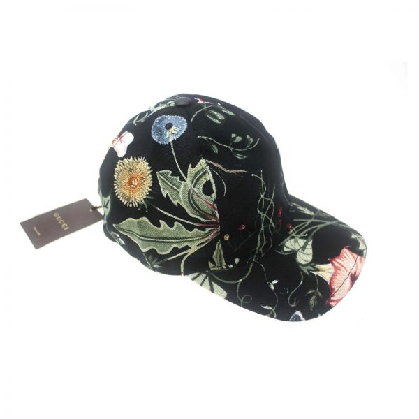 Authentic, New, and Unused Gucci Flora Knight Black Baseball Hat Large 372689 side view