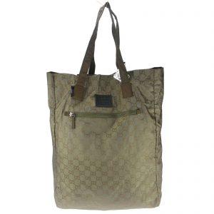 Authentic, New, Unused Gucci GG Nylon Viaggio Collection Tote Bag Green 308877 Front View