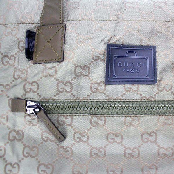 Authentic, New, Unused Gucci GG Nylon Viaggio Collection Tote Bag Green 308877 outside tag