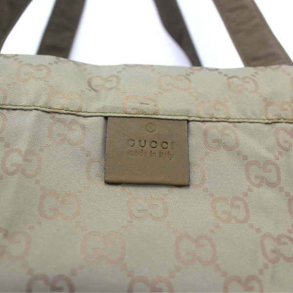 Authentic, New, Unused Gucci GG Nylon Viaggio Collection Tote Bag Green 308877 interior tag