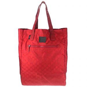 Authentic, New, Unused Gucci GG Nylon Viaggio Collection Tote Bag Red 308877 Front View