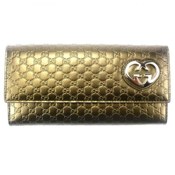 Authentic, New, and Unused Gucci GG Shine Heart Plaque Continental Clutch Wallet Olive Green 245728 front view