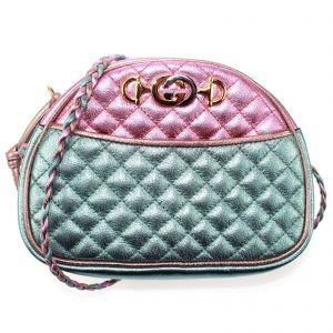Authentic, New, and Unused Gucci Laminate Quilting Shoulder Bag Pink Green Leather 534951 front view