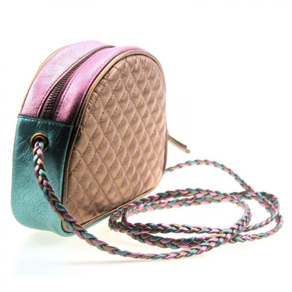 Authentic, New, and Unused Gucci Laminate Quilting Shoulder Bag Pink Green Leather 534951 back view