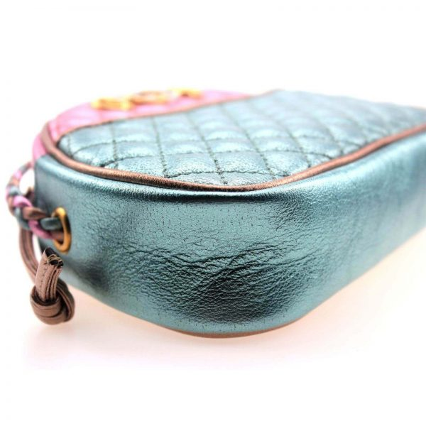 Authentic, New, and Unused Gucci Laminate Quilting Shoulder Bag Pink Green Leather 534951 bottom left side view