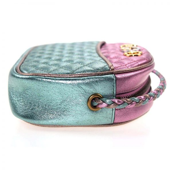 Authentic, New, and Unused Gucci Laminate Quilting Shoulder Bag Pink Green Leather 534951 right side view