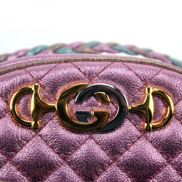 Authentic, New, and Unused Gucci Laminate Quilting Shoulder Bag Pink Green Leather 534951 close-up