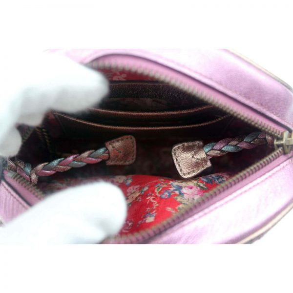 Authentic, New, and Unused Gucci Laminate Quilting Shoulder Bag Pink Green Leather 534951 inside view
