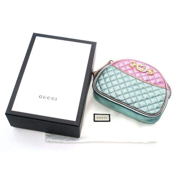 Authentic, New, and Unused Gucci Laminate Quilting Shoulder Bag Pink Green Leather 534951 top view