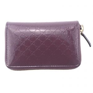 Authentic, New, and Unused Gucci Leather GG Guccissima Zip Around Card Coin Case Wallet Mauve 255452 front view