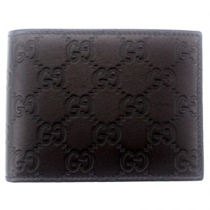 Authentic, New, and Unused Gucci Leather Guccissima Bifold Coin Pocket Wallet Black 143384 front view