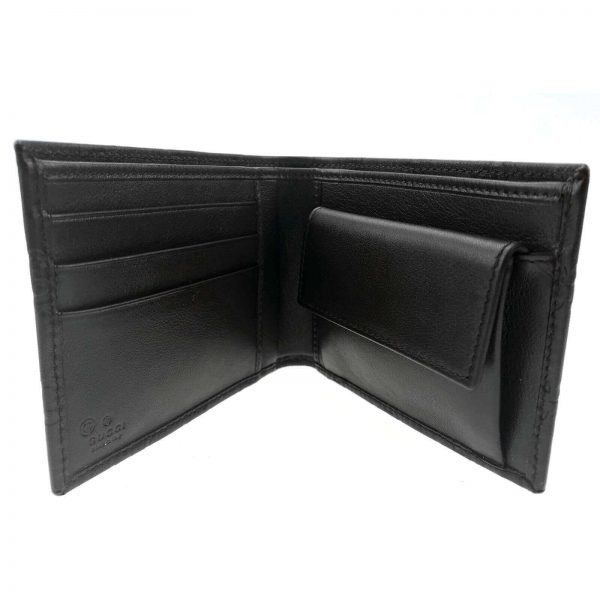 Authentic, New, and Unused Gucci Leather Guccissima Bifold Coin Pocket Wallet Black 143384 interior view
