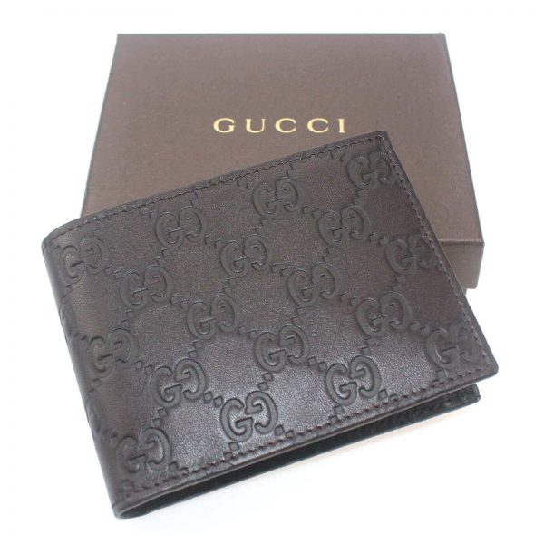 Authentic, New, and Unused Gucci Leather Guccissima Bifold Coin Pocket Wallet Black 143384 top view