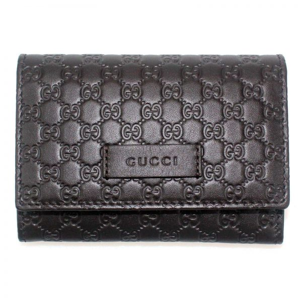 Authentic, New, and Unused Gucci Microguccissima Card Case Wallet Dark Brown 544030 front view