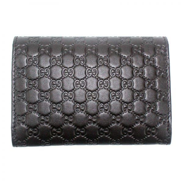 Authentic, New, and Unused Gucci Microguccissima Card Case Wallet Dark Brown 544030 back view