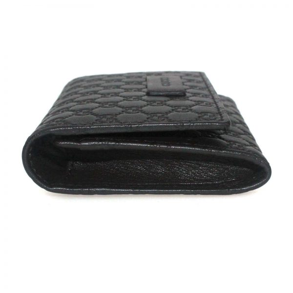 Authentic, New, and Unused Gucci Microguccissima Card Case Wallet Dark Brown 544030 left side view