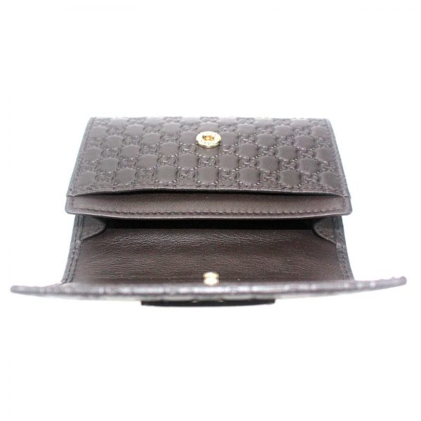 Authentic, New, and Unused Gucci Microguccissima Card Case Wallet Dark Brown 544030 interior view