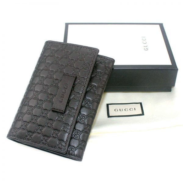 Authentic, New, and Unused Gucci Microguccissima Card Case Wallet Dark Brown 544030 top view