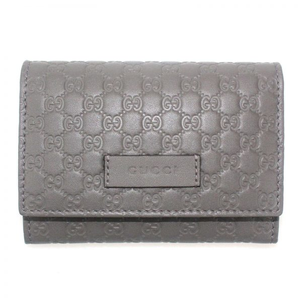 Authentic, New, and Unused Gucci Microguccissima Card Case Wallet Gray 544030 front view
