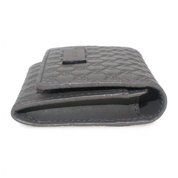 Authentic, New, and Unused Gucci Microguccissima Card Case Wallet Gray 544030 right side view