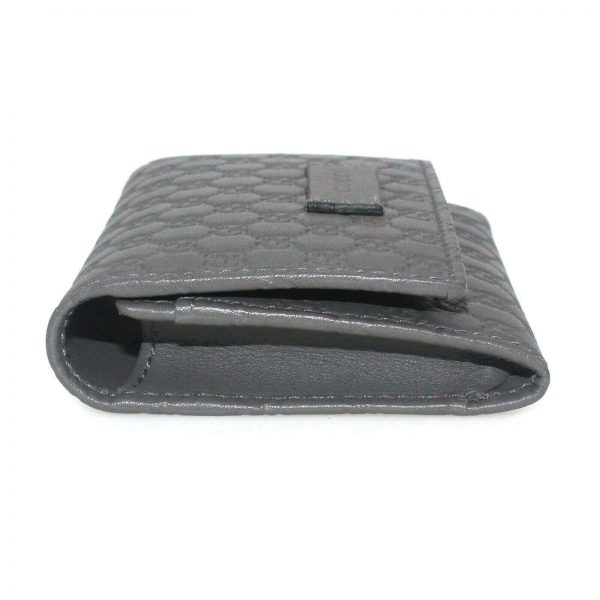 Authentic, New, and Unused Gucci Microguccissima Card Case Wallet Gray 544030 left side view