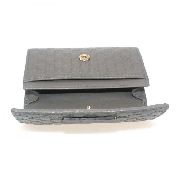 Authentic, New, and Unused Gucci Microguccissima Card Case Wallet Gray 544030 interior view
