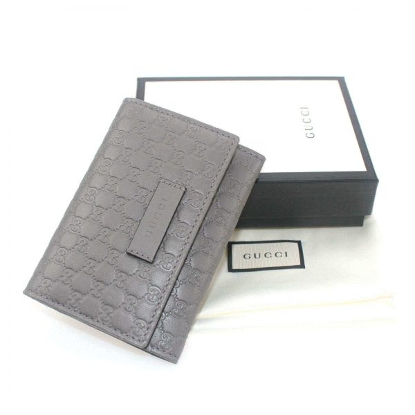 Authentic, New, and Unused Gucci Microguccissima Card Case Wallet Gray 544030 top view