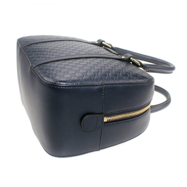 Authentic, New, and Unused Gucci Microguccissima Crossbody Bag Navy Blue 510286 bottom right side view