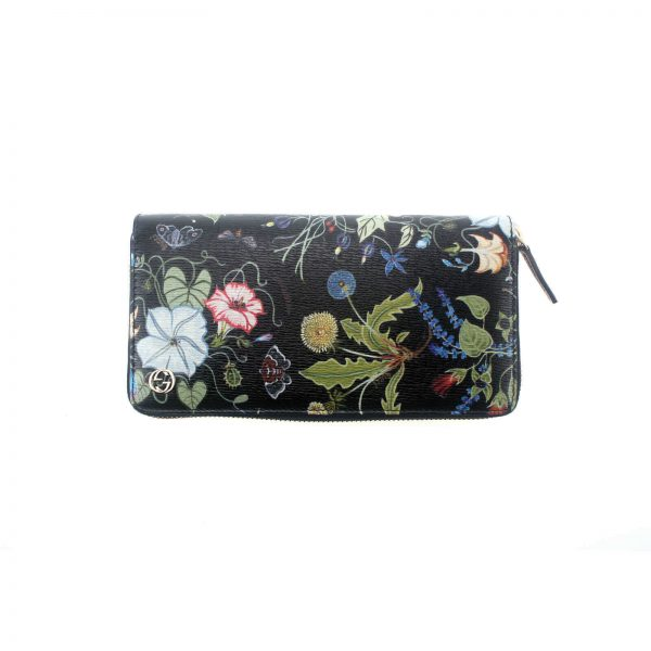 Authentic, New, and Unused Gucci Multicolor Black Flora Knight Zip Around Leather Wallet 309705 back view