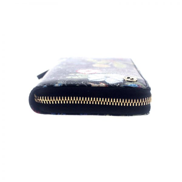 Authentic, New, and Unused Gucci Multicolor Black Flora Knight Zip Around Leather Wallet 309705 left side view
