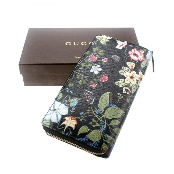 Authentic, New, and Unused Gucci Multicolor Black Flora Knight Zip Around Leather Wallet 309705 top view
